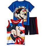 Disney Boys' 3 Piece Mickey Mouse Muscle Tank, T-Shirt and Short Set, Orange, 24m