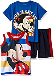 Disney Boys' 3 Piece Mickey Mouse Muscle Tank, T-Shirt and Short Set, Orange, 12m