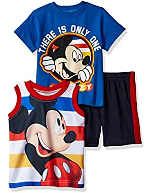 Disney Boys' 3 Piece Mickey Mouse Muscle Tank, T-Shirt and Short Set