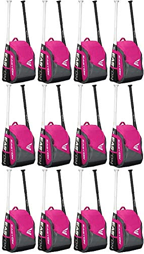 (EASTON GAME READY Youth Bat & Equipment Backpack Bag | Baseball Softball | 2019 | Pink | 2 Bat Pockets | Vented Main Compartment | Vented Shoe Pocket | Valuables)