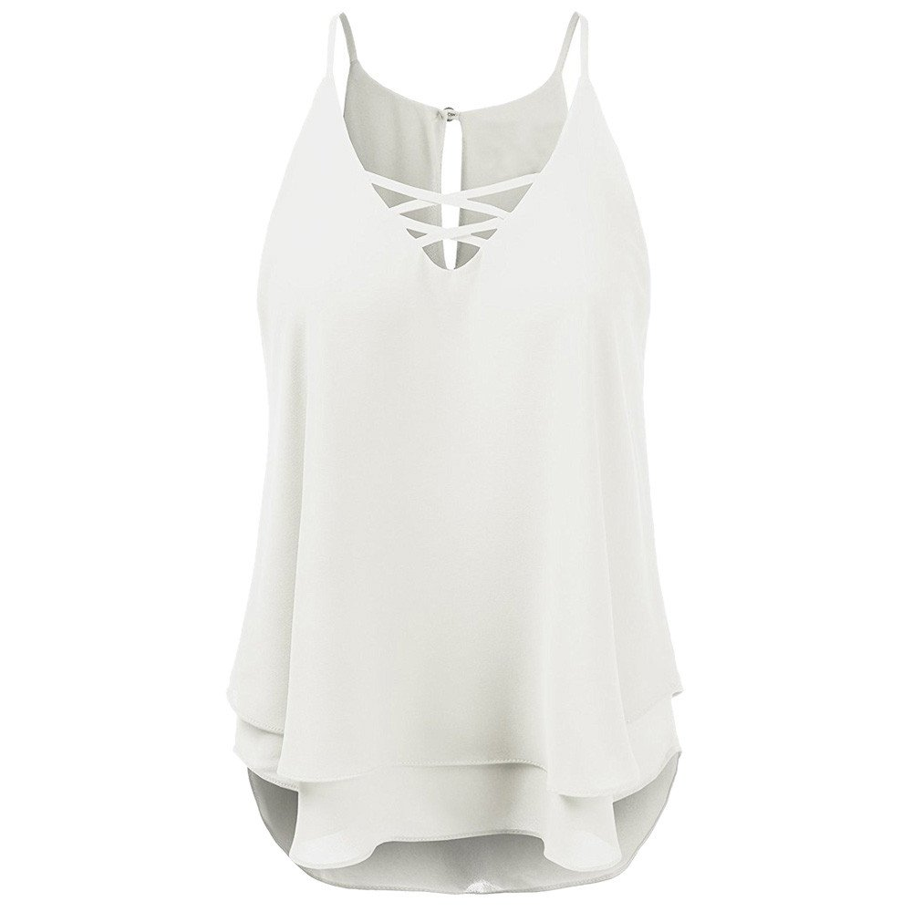 Summer T Shirts for Women,Beach Cross Vest Top Sleeveless Blouse Casual Tank Camis Loose T-Shirt Yamally White