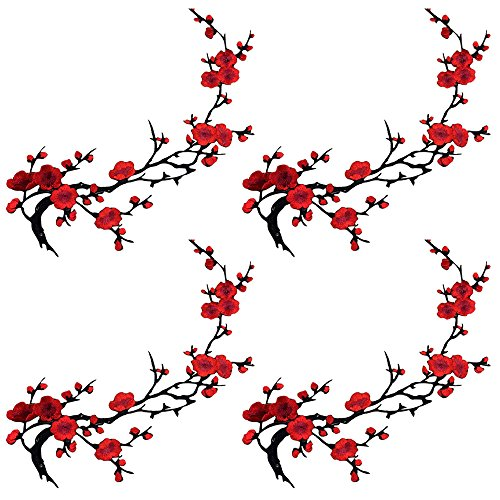 4pcs of Red Cherry Embroidery Blossom Sakura Flower Flowers Iron on Appliques Patches for Jeans Sweater T Shirt(Red Color,4pcs)
