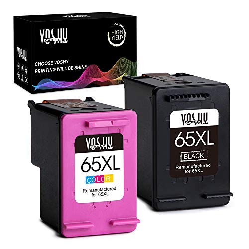 Voshy 65XL Remanufactured Ink Cartridges Replacement for HP 65 XL Combo Pack Compatible with for DeskJet 3755 2655 3752 2652 2624 Envy 5055 AMP 100 Printer (Black and Tri-Color, 2-Pack)