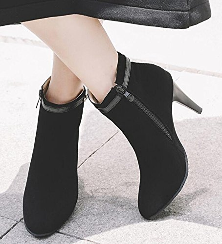 Stiletto IDIFU Ankle Zipper Boots Toe High Faux Suede Pointed Black Heels With Womens Retro qzqwr0F