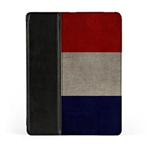 French Flag on Canvas - Flag of France Premium Faux PU Leather Case, Protective Hard Cover Flip Case for Apple® iPad 2 / 3 and iPad 4 by UltraFlags + FREE Crystal Clear Screen Protector