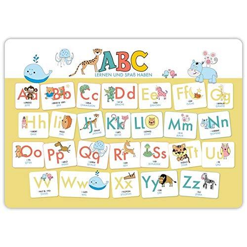 Hochwertiges ABC-Mini-Lernposter der Tiere (32,4 x 45,8 cm): Stabiler Karton, folienbeschichtet, abwischbar.: Auch als Schreibunterlage geeignet. Das ABC lernen und Spaß haben für Mädchen und Jungen!