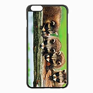 iPhone 6 Plus Black Hardshell Case 5.5inch - forest tree branch family raccoons Desin Images Protector Back Cover