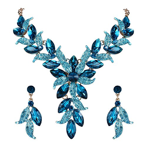 BriLove Wedding Bridal Necklace Earrings Jewelry Set for Women Crystal Enamel Marquise-Shape Leaf Flower Statement Necklace Dangle Earrings Set Blue Topaz Color Gold-Toned