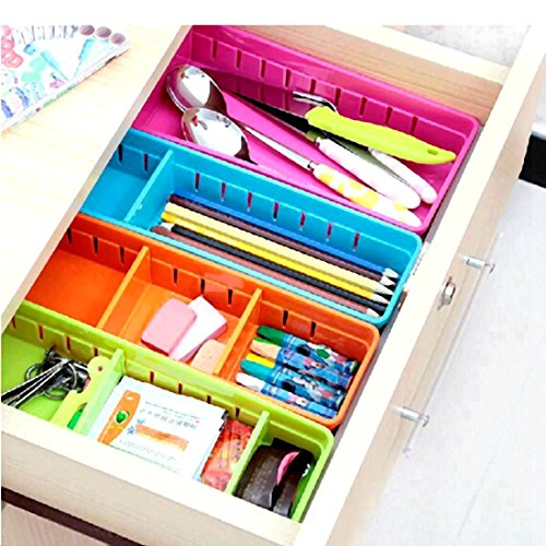 Creative Storage Drawers Drawer Organizers VANORIG Plastic Drawer Dividers Drawer Storage Box Stationery Makeup Organizers ,Set of 4 (Assorted Colors)