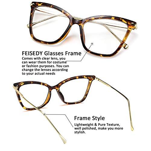 7063c84fd61b FEISEDY New Oversized Cat Eye Glasses Frame Non prescription Eyewear for  Women B2460 (Black-
