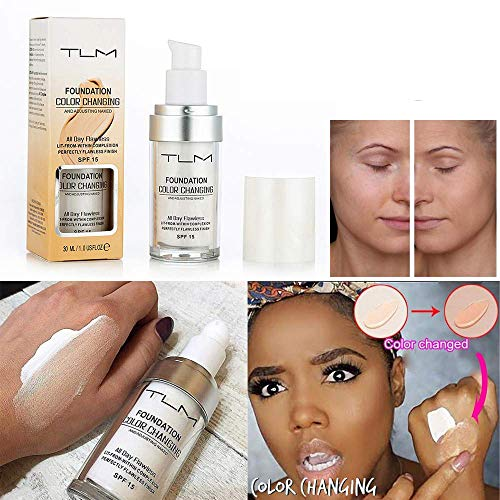 TLM Moisturizing Liquid,Flawless Colour Changing Warm Skin Tone Foundation Makeup Base Nude Face Cover Concealer Change Skin Tone for Women Girls