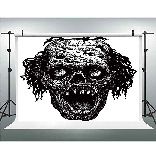 Photo Video Photography Studio Fabric Backdrop Background Screen,Halloween,5x6.5ft,Zombie Head Evil Dead Man Portrait Fiction Creature Scary Monster Graphic