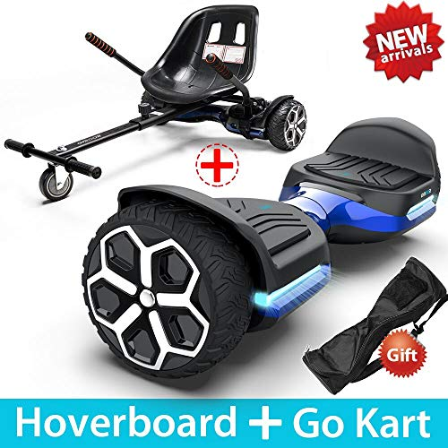Gyroor T581 Hoverboard 6.5″ Off Road All Terrain Hoverboards with Bluetooth Speaker&LED Lights Two-Wheel Self Balancing Hoverboard with Kart Seat Attachment UL2272 Certified for Kids & Adults(Blue)