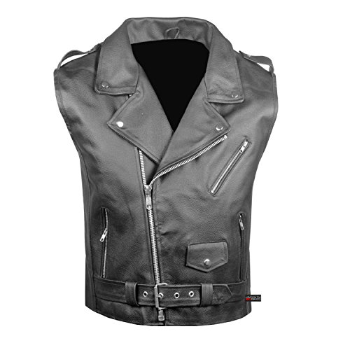 (Men's Classic Leather Motorcycle Biker Concealed Carry Vintage Vest Black 3XL )