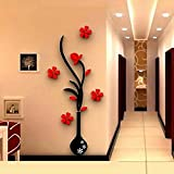 Edtoy 3D vase plum wall stickers living room sofa TV background wall stickers home accessories Red (32 * 80cm)