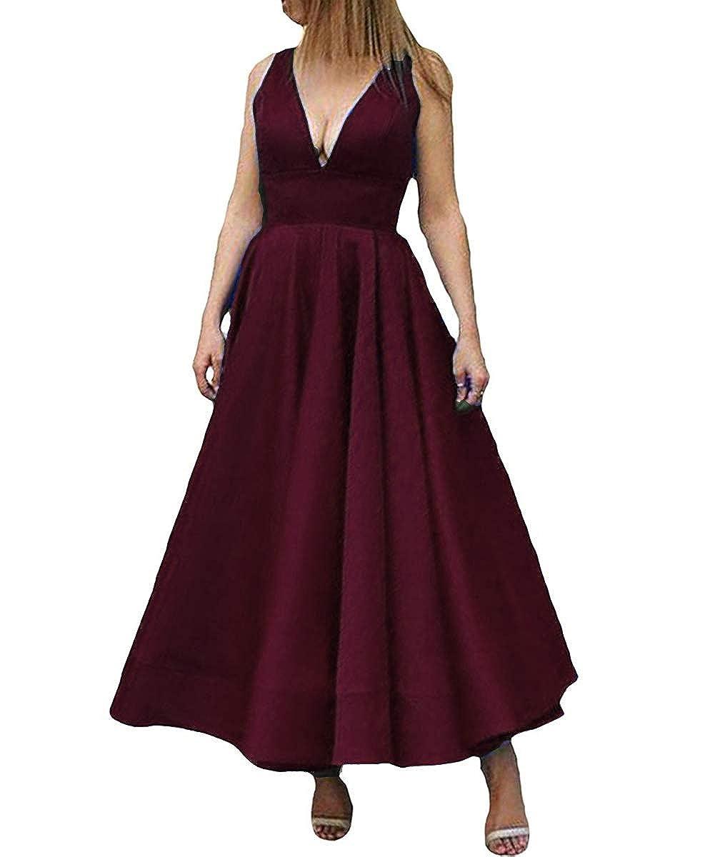 Dark Plum Kivary Deep V Neck A Line Ankle Length Corset Backless Formal Prom Evening Dress