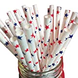 Just Sip It Biodegradable Vintage Paper Drinking Straws, Red and Blue Stars, Pack of 50
