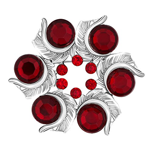 JewelryHouse Fancy Cute Small Circle Flower Crystal Rhinestone Brooches and Pins (Red)