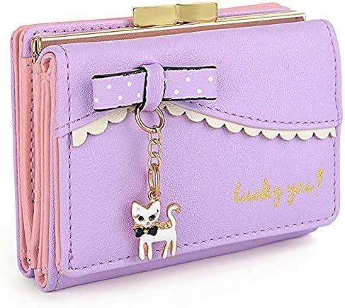 DAMILY 고양이 지갑 레이디스 귀여운 미니 지갑 렉스 또한 입 동전 지갑 ㅋ ㅋ 매력 여 아 작은 지갑 소형 대용량 지갑 카드 인기 여성용 선물 / DAMILY Cat Wallet Ladies Cute Mini Wallet Three Folds Maguchi Coin Purse Cat Charm Girl Small W...
