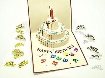 Tremendous Beautiful New Pop Up Greeting Card 3D Design 20 Birthday Cake Funny Birthday Cards Online Elaedamsfinfo