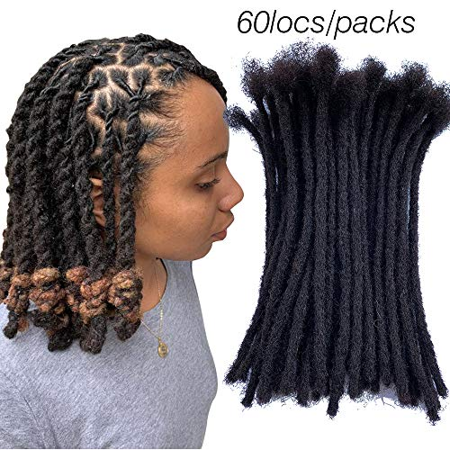 YONNA Human Hair Microlocks Sisterlocks Dreadlocks Extensions 60Locs Full Handmade (Width 0.4cm) 8inch Natual Black #1B (Best Hair Length For Dreadlocks)