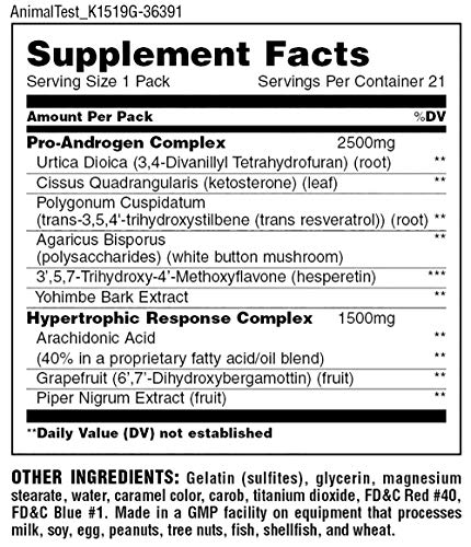 Animal Test – Testosterone Booster For Men – Arachidonic Acid, Yohimbe Bark, Trans Resveratrol, Cissus Quadrangularis – Convenient All-in-one Packs for Strength Athletes & Bodybuilders – 21 Day Cycle