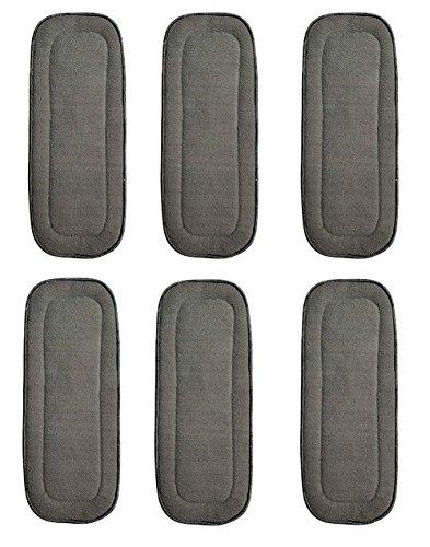 6 Pack Bamboo Charcoal Inserts 5 Layers for Cloth Diapers Washable Large 14