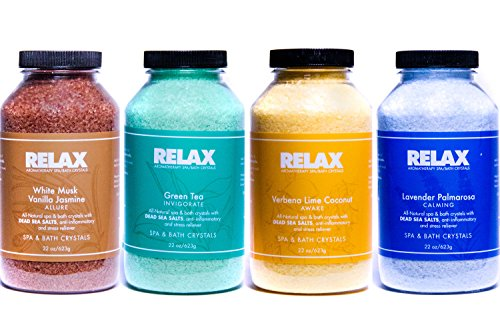 Escape Aromatherapy Bath Crystals -Pack of 4, 22 Oz- All Natural Dead Sea Salts - Aroma Therapy For Hottub, Spa & - Bath Scents Salts Scented