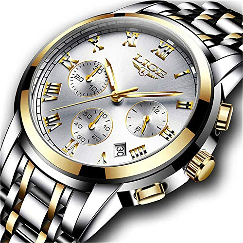 (Watches Mens Full Steel Quartz Analog Wrist Watch Men Luxury Brand LIGE Waterproof Date Business Watch)