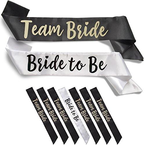 Team Bride 7pc Satin Sash Set - Sophisticated & Fun Party Favors for Bachelorette Party, Bridal Shower & Wedding Party (7pc Set, White & Black) -