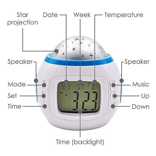 dubens Reloj despertador digital LED Wake-Up Luz Luz de día Reloj despertador para adultos, niños, despertador con 7 farbwechselnden Muestran Tiempo Fecha ...