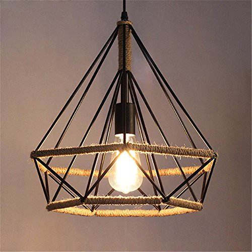E27 Vintage Caged Pendant Lights Rope Diamond Ceiling Lights Industrial Retro Iron Chandelier Bedroom Living Room Hotel Mall Cafe Bar Mall Loft Garage Home Decor Hanging Lights Indoor Lighting,38cm