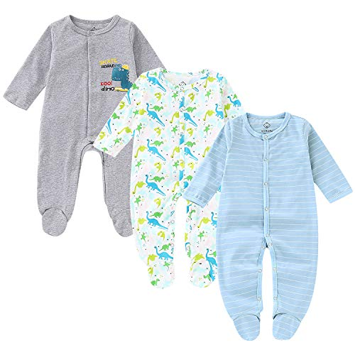 OPAWO Baby Boys' Footed Sleeper Pajamas 3 Pack Long Sleeve Coverall 0-18 Months(9-12 -