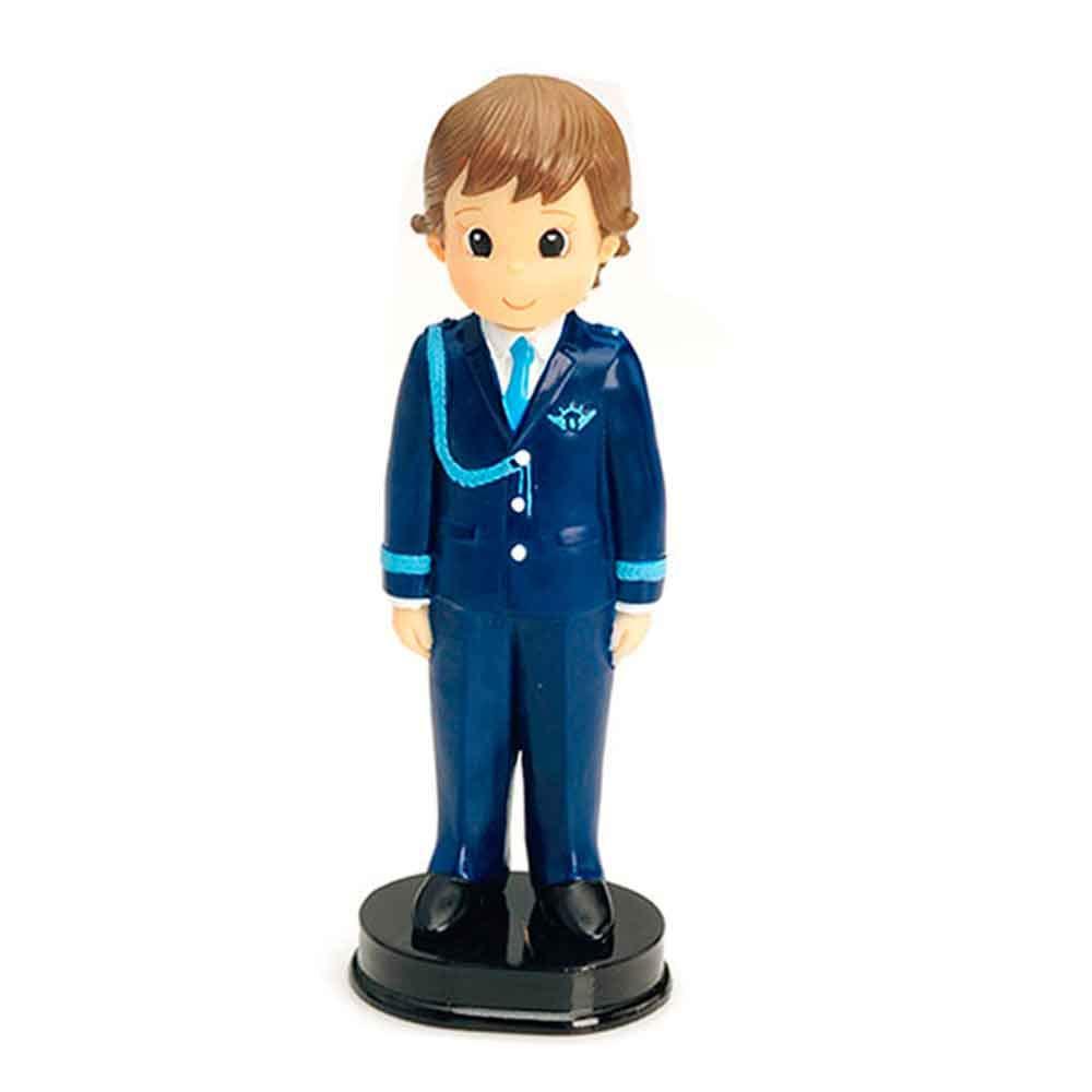 Figura para tarta de Comunión Almirante, niño con traje azul y galones. Recuerdo de pastel de Primera Comunión chico.