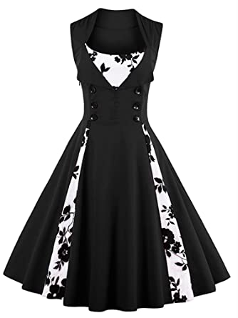 60013eac109 Killreal Women s Vintage Floral Print Sleeveless Casual Rockabilly Cocktail  Dress Black White Small