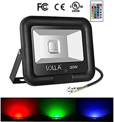 Holiday Party SOLLA Dimmable Decorative Light Outdoor Stage Landscape Lighting with Plug 50W RGB LED Flood Light Coloured Security Light with Remote Control 16 Colours 4 Modes for Christmas