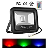 SOLLA 30W RGB LED Flood Lights, Outdoor Colour Changing LED Security Light with Remote Control, IP65 Waterproof 16 Colors & 4 Modes Dimmable Wall Washe