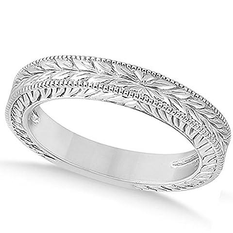Vintage Style Carved Leaf Design Filigree Wedding Band with Milgrain Edges in 18k White Gold (Leaf Ring White Gold)
