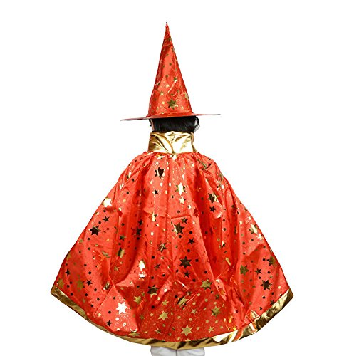[Teddy Spirit Halloween Costumes Witch Wizard Cloak with Hat for Kids Boys Girls (Red)] (Red Halloween Kids Costumes)