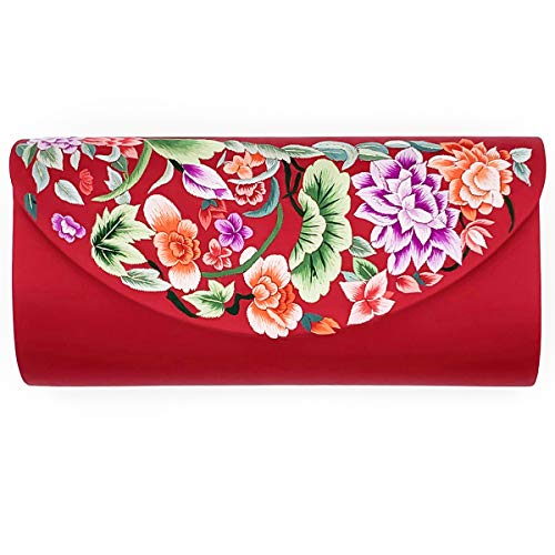 (Hand-embroidered Silk Women's Evening Clutch Bag Wedding Purse Bridal Prom Ladies Handbag Party Bag Shoulder Bag (red))