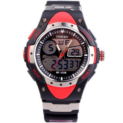 Time 100 Buceo reloj digital, multifuncional doble pantalla negra correa exterior reloj de pulsera: Amazon.es: Relojes