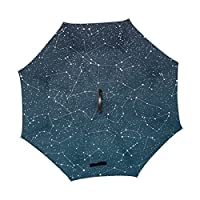 ALAZA U LIFE Vintage Galaxy Stars Space Constellation Reverse Inverted Umbrellas Reversible Sun Rain Umbrella for Car Outdoor Use With C-shaped Handle