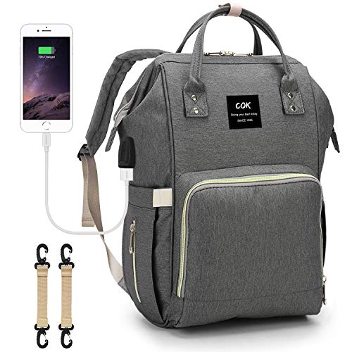 Cok Diaper Bag Backpack?Large Capacity Waterproof Baby Nappy Bags with USB Charging Port, Insulated Pockets, Changing Pad and Stroller Straps, Multi-Functional Travel Back Pack for Mom and Dad