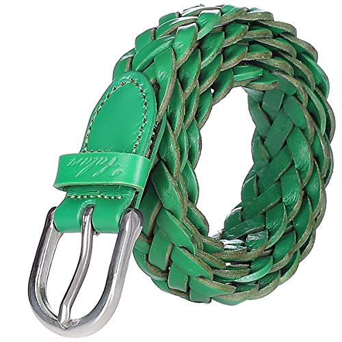 Falari Women's Leather Braided Belt Stainless Steel Buckle 6007 - Kelly Green-M