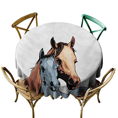 StarsART Table Cloth for Dinner PartiesCountry,Farm Life Warehouse Country Horses Watercolored Abstract Image,Turquoise and Pale Caramel D70,Round - Caramel Merlot Wine