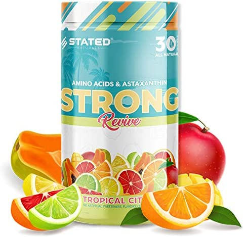 STRONG Revive 5g Vegan Essential Amino acids 2mg Organic Astaxanthin 1g Coconut Water 50mg Astragalus Panax Ginseng Build Tone Muscle
