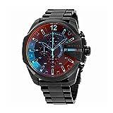 Diesel Mens Mega Chief Quartz Stainless Steel Chronograph Watch, Color: Black (Model: DZ4318)