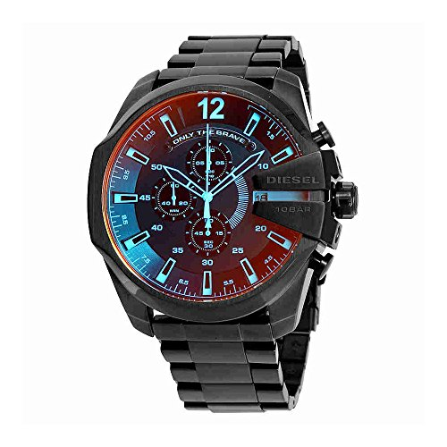 Diesel Men's Mega Chief Quartz Stainless Steel Chronograph Watch, Color: Black (Model: (Diesel Silver Black Band Watch)