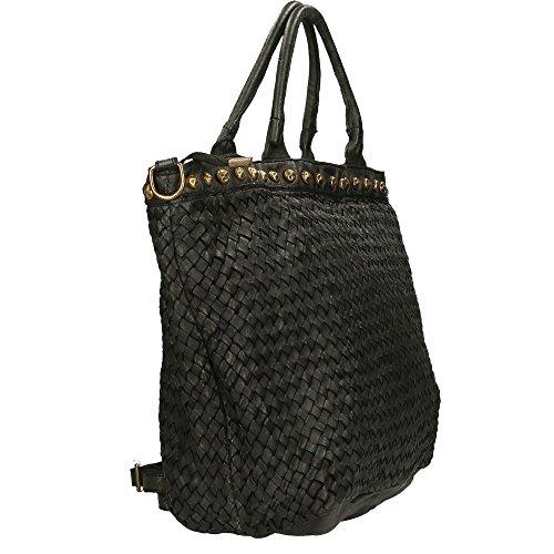 Bolso de mujer Chicca Borse Vintage en Piel Genuina Trenzado Made in Italy 48x30x15 Cm Negro