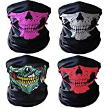 GAMPRO 4 Pcs Breathable Seamless Tube Skull Face Mask, Dust-proof Windproof Motorcycle Bicycle Bike Face Mask for...